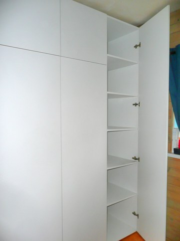 purpose made cabinet in splayed opening